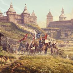 The Battle of Kletsk was fought on 6 August between the army of the Grand Duchy of Lithuania and the army of the Crimean Khanate. The battle was one of the greatest Lithuanian victories over the Tatars. In painting you can see the moment when armies Fantasy Castle, Fantasy Art, Lead Adventure, History Magazine, Keys Art, Total War, Beautiful Castles, 14th Century, Antique Prints