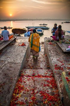 Share a moment in the morning on the River Ganges. Varanasi, India.