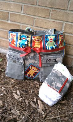 ACU and Sock Monkey Baby Bag with Diaper Holder. $75.00, via Etsy.