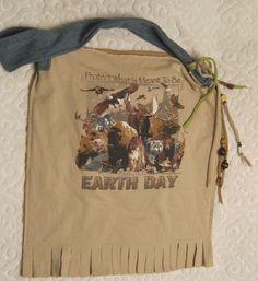 Earth Day Tote Bag Recycled T shirt Purse Market Bag Vegan Bag. $32.00, via Etsy.