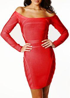 Long Sleeve Off The Shoulder Bandage Dress Sexy Cocktail Dress 8c2920ff8e2d