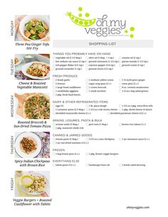 Vegetarian Meal Plan & Shopping List - Including Three Pea Ginger Tofu Stir Fry, Spicy Indian Chickpeas, Make-Ahead Baked Manicotti & 2 more meatless dinner ideas