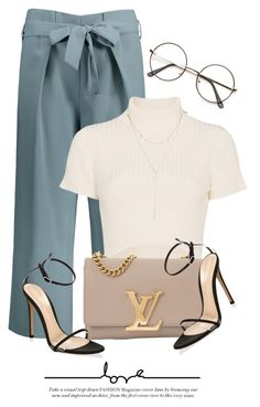 """9:05"" by monmondefou ❤ liked on Polyvore featuring Staud, Louis Vuitton and Gianvito Rossi"