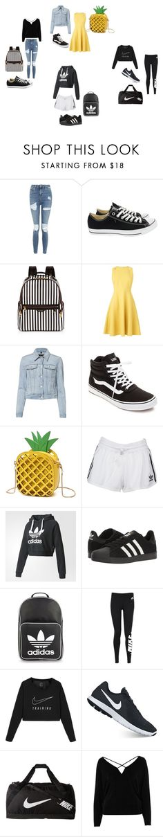"""""""Bored so did this!!!"""" by jimena11 ❤ liked on Polyvore featuring Topshop, Converse, Henri Bendel, L.K.Bennett, J Brand, Vans, adidas Originals, adidas, NIKE and River Island"""