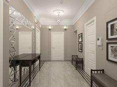 Grey and white entryway design ideas and beautiful modern interiors Entry Way Design, Entrance Design, Corridor Design, Ikea Small Spaces, Tiled Hallway, Small Hallways, Hallway Designs, Beach House Decor, Grey Walls