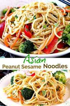 Asian Peanut Sesame Noodles are loaded with veggies and tossed in a tasty and creamy Peanut Sesame dressing. These Sesame Noodles are easy to make, delicious and ready in less than 30 minutes! Potato Recipes, Pork Recipes, Pasta Recipes, Chicken Recipes, Spaghetti Recipes, Noodle Recipes, Meatloaf Recipes, Crockpot Recipes, Easy Asian Recipes