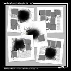 Oscraps :: Shop by Designer :: Anna Aspnes Designs :: Baby Template Album No. 1A