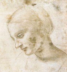 Leonardo da Vinci - Study of a woman's head , 1490