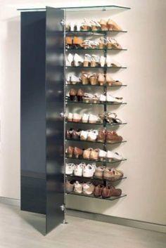 elegantes Schuh-Wandregal mit Glastüren elegant shoe wall shelf with glass doors Small Storage, Diy Storage, Storage Ideas, Shoe Storage Solutions, Storage Spaces, Closet Shoe Storage, Shoe Racks, Shoe Closet, Shoe Storage Glass