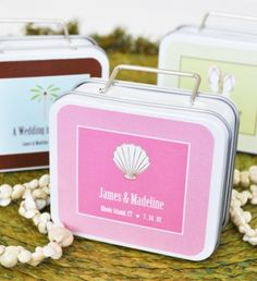 """Celebrate your high-flying journey with """"love is in the air"""" suitcase favor tins. Ideal as destination wedding favors and honeymoon-themed bridal shower favors. Wedding Favors Unlimited, Destination Wedding Favors, Wedding Favor Boxes, Wedding Souvenir, Personalized Wedding Favors, Unique Wedding Favors, Wedding Ideas, Wedding Planning, Wedding Stuff"""