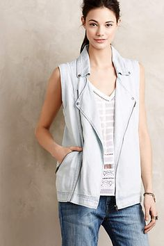 Chambray Moto Vest - anthropologie.com #anthrofave