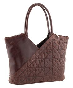 Loving this Brown Embossed Diagonal Leather Tote by Tina Panicucci on #zulily, $100 !!  #zulilyfinds