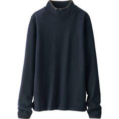 UNIQLO Women Idlf Extra Fine Merino Mock Neck Sweater (2,770 MKD) ❤ liked on Polyvore featuring tops, sweaters, mock neck top, mock turtleneck, merino wool sweater, blue turtleneck and turtle neck sweater