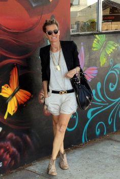 AndAndrea Nina Maya blazer  sass & bide singlet  Biasa Bali linen shorts Leona Edmiston Bag