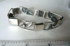 Scandinavian Silver: vintage designer silver and modernist jewelry - Silver foliage bracelet