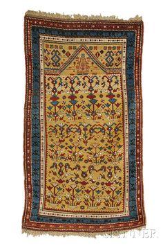 Daghestan Prayer Rug, Northeast Caucasus, last quarter 19th century,  6 ft. x 3 ft. 5 in.    Skinner Auctioneers Sale 2653B