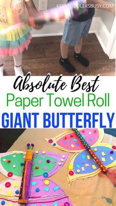 Paper Towel Roll Crafts, Paper Crafts For Kids, Crafts For Kids To Make, Projects For Kids, Giant Butterfly, Butterfly Kids, Butterfly Crafts, Craft Activities, Preschool Crafts