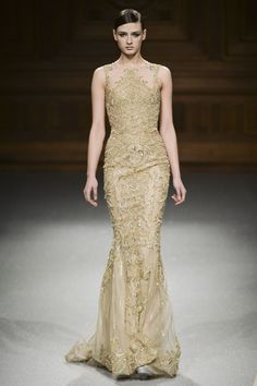 Tony Ward | Spring 2015 Couture | 24 Nude/gold embroidered sleeveless maxi dress
