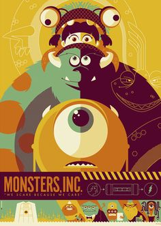 This Monsters Inc. poster design Credits: Monsters Inc. Poster Design by (©) Tom Whalen. Disney Vintage, Retro Disney, Art Disney, Disney Kunst, Vintage Cartoon, Disney Pixar, Vintage Disney Posters, Disney Movie Posters, Modern Disney