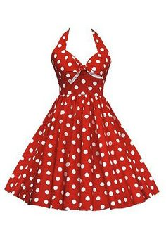 50s Vintage Pinup polka dot rockabilly style halter red housewife dress