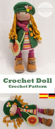 Adorable Doll with cute clothes  - Crochet pattern for doll IDA, pdf (Deutsch, English, Nederlands, Español, Français) #ad #crochet