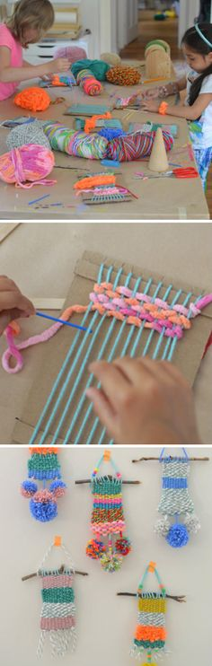 Pom Pom weaving activity for the boys!