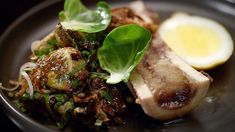 My Kitchen Rules Recipe - Alex & Emily's Roasted Bone Marrow with Brussels Sprouts Marrow Recipe, Roasted Bone Marrow, Lemon Cheese, My Kitchen Rules, Beef Ribs, Cooking Recipes, Healthy Recipes, Appetisers, Vegetable Side Dishes