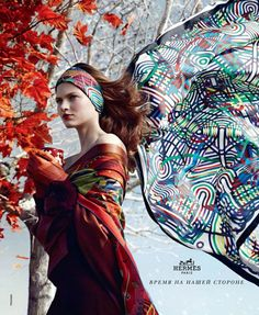 Silk scarf from Hermes fall 2012 campaign.