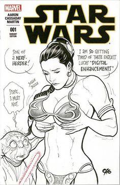 Frank Cho draws Slave Leia on Star Wars cover.