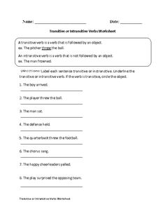 This action verbs worksheet directs the student to label each sentence transitive or intransitive. English Grammar Worksheets, Verb Worksheets, Grammar Lessons, English Resources, Intransitive Verb, Free Kindergarten Worksheets, Action Verbs, Exactly Like You, Irregular Verbs
