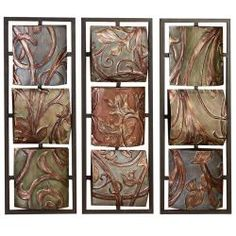 @Overstock - This Casa Cortes Sienna Vines abstract metal wall art is a group of three wall hangings artistically decorated and painted with three-dimensional detail. The earth-tone colors offers an excellent complement to many different decor styles.http://www.overstock.com/Home-Garden/Casa-Cortes-Sienna-Vines-Metal-Wall-Art-Decor/6355984/product.html?CID=214117 $95.99