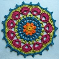 Crochet Mandala Wheel made by  Ilona, FINLAND for yarndale.co.uk