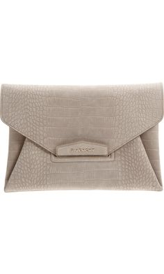 Givenchy Croc-Stamped Antigona Envelope Clutch