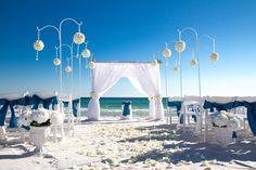 Elegant beach wedding decorations using flower balls