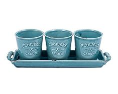 Vencer Country Rustic Turquoise Ceramic Succulent Planters  Flower Pots  Handled Display TrayOffice Desktop Potted StandHome  Office Decor AccentSet of 3VF016 -- BEST VALUE BUY on Amazon
