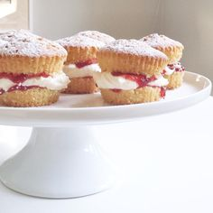 oozy jammy little sponge cakes for afternoon tea ♡ [mini vanilla cupcakes sliced + filled with vanilla buttercream and strawberry preserve]