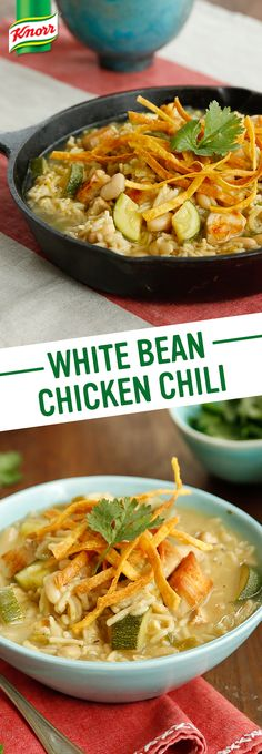 Heat up the family dinner table with a hearty chili recipe. Knorr's White Bean Chicken Chili brings Southwestern inspired flavors home to your kitchen in a few simple steps. Make it a new favorite weeknight meal tonight. 1. Cook chicken. Stir in cumin. 2. In same skillet add canned chilies to cannellini beans, simmer Knorr® Rice Sides™ - Herb & Butter, and mix zucchini w/ lime juice. 3. Serve w/ lime wedges, chopped cilantro, & corn tortilla strips or chips. Enjoy!