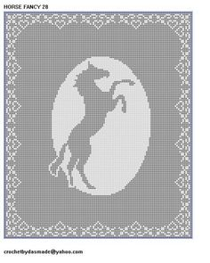 28 Horse Fancy Filet Crochet Doily Afghan Pattern tablecloth tablemat