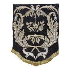 19th Century Italian Gold and Silver Metallic Appliqued Textile