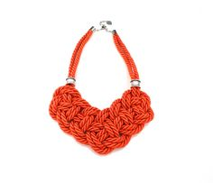 Orange Rope Knot Statement Necklace by ChichiKnots on Etsy, $35.00