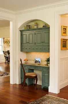 Love this home office nook! Plenty of storage space and green accent color on the cabinets provides an excellent pop of color! Home, Home Kitchens, House Styles, Kitchen Design, Kitchen Pictures, Built In Desk, New Homes, House, House Interior