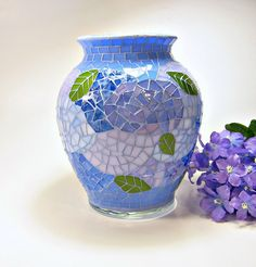Stained glass mosaic vase hydrangea blue lavender periwinkle