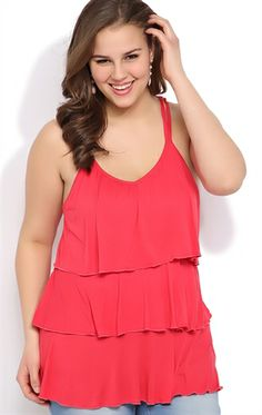 Deb Shops Plus Size Tiered Tank with Spaghetti Straps and Crochet Back $22.90