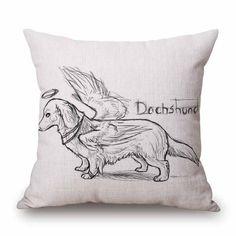 Cute Dachshund Cotton Linen Decorative Pillow Case