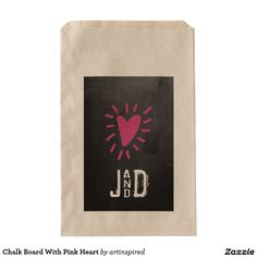 Chalk Board With Pink Heart Favor Bags - Add your favorite cookies, donuts, candy or other treats. Fun personalized favor bag for your wedding.