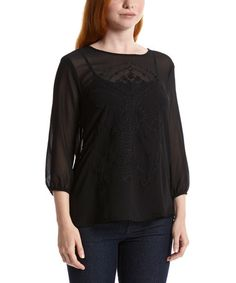 Black Sheer Embroidered Three-Quarter Sleeve Top by Simply Irresistible #zulily #zulilyfinds