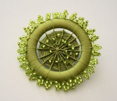 Ornate Beaded Dorset Button Brooch in Chartreuse by denisekovnat
