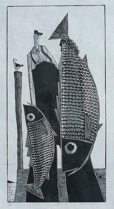 relief printmaking Paintings and Prints by David Witbeck, Painter Linocut Prints, Art Prints, Illustration Photo, Illustrator, Wood Engraving, Fish Art, Oeuvre D'art, Printmaking, Graphic Art