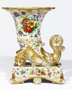<b>A Jacob Petit Old Paris Porcelain Handpainted Cornucopia Vase,</b> <br /> initialled in blue ''J. P'' to base <br /> H 23 cm Urn Vase, Decorative Vases, Old Paris, Vases Decor, Fine China, Candlesticks, Auction, Hand Painted, Antiques