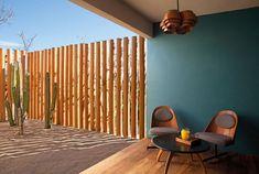 Learn more about the architecture and interior design concept of Federico Rivera Rio at Hotel Escondido in Puerto Escondido, Mexico. Interior Design Magazine, Bungalows, Escondido Hotel, Bright Walls, Floor Colors, Resort Style, Colorful Furniture, House And Home Magazine, Rustic Style